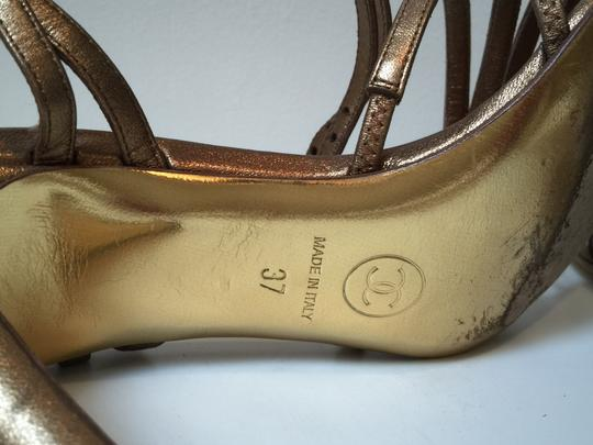Chanel Msexy Mgold Pumps Mstrappy High Heel Sexy Classic Leather Bronze Sandals