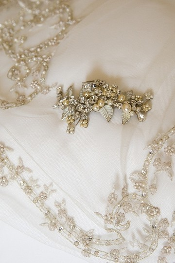 White Long Embroidered Bridal Veil