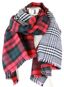New Hot!! Classic Plaid Reversible Blanket Scarf