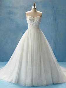 Alfred Angelo Diamond White/Silver Tulle Glitter Net Taffeta Cinderella's Disney Princess Bridal Gown Style 205 Feminine Wedding Dress Size 4 (S)