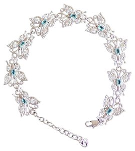 Lovely Sky Blue Topaz 925 Sterling Siver Butterfly Tennis Bracelet