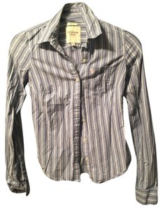 Abercrombie & Fitch Striped Pinstripe Preppy Vintage Retro Button Down Shirt Blue