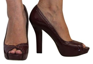 Via Spiga Patent Patent Leather Leather Burgundy Pumps