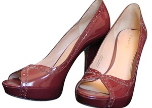 Via Spiga Patent Patent Leather Leather Peep Toe High Heel Burgundy Pumps