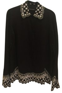 Dana Buchman Embroidered Top Black