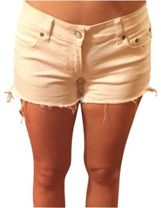 American Eagle Outfitters Distressed Denim Fringe Hem Mini/Short Shorts White