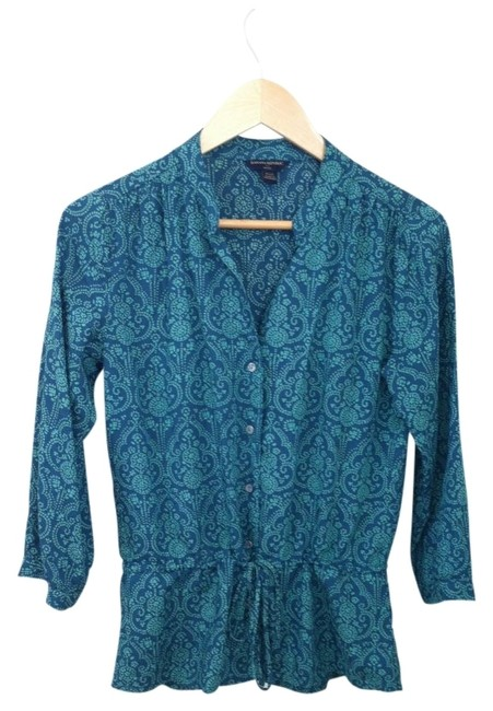 Preload https://item5.tradesy.com/images/banana-republic-blue-green-with-gold-and-beige-details-34-sleeve-v-neck-blouse-design-button-down-to-5659-0-0.jpg?width=400&height=650