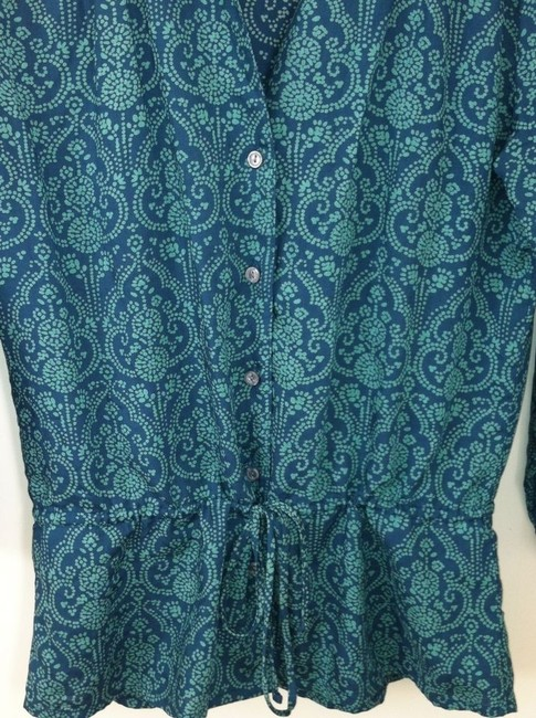 Banana Republic V V-neck Button Down Shirt Blue green with gold & beige details