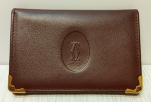 Cartier Cartier Leather Bordeaux Credit Card Case ID Holder Logo Motif