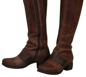 Olukai Leather Zipper Hawaian Round Toe Brown Boots