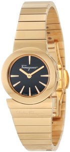 Salvatore Ferragamo NWT Salvatore Ferragamo Gancino Gold & Black Ladies Watch