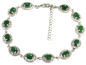 Gorgeous Real Natural Green Emerald, White CZ 925 Sterling Silver Tennis Bracelet