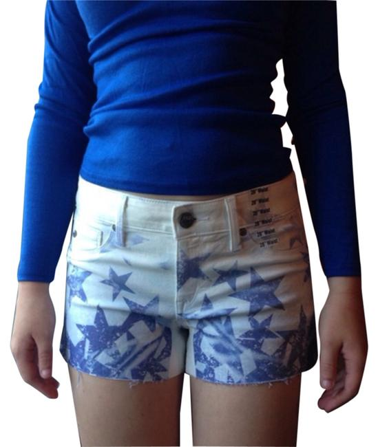 Fade to Blue Cut Off Shorts White, blue
