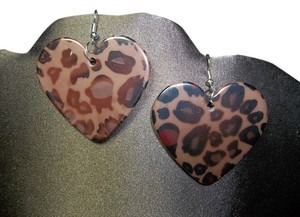 Pierced Earrings, Brown Leopard Design, Fish Hook Backings