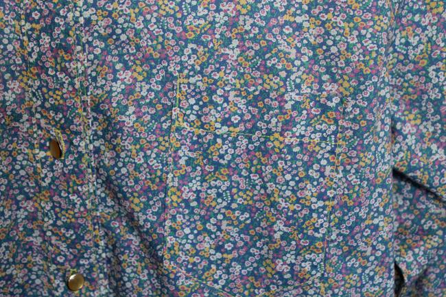 Todd Oldham Pearl Buttons Western Flowers Button Down Shirt Floral