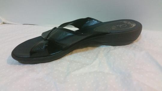 Cole Haan Black Leather with Black Patent Accents Sandals