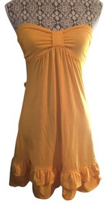 Wet Seal short dress Yellow Strapless Sweetheart Ruffle on Tradesy
