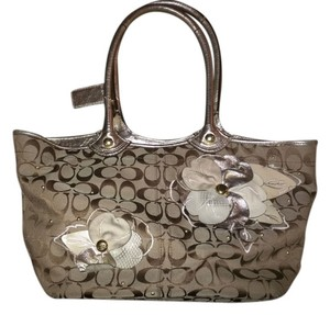 Coach Tote in Signature Bleecker Brown, Khaki, Gold Flower