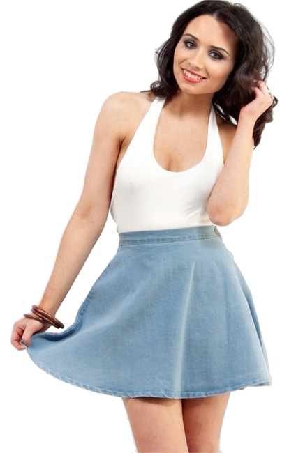 American Apparel Denim Tea Length Skater Mini Micro-mini Mini Skirt Stone Wash Indigo
