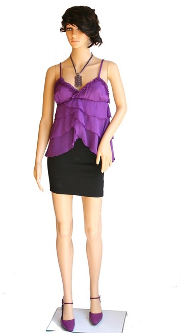 Loungewear Betty Sole Silk Silk Spaghetti Straps New Size 4-6 Size 4 Size 6 Violet Tiered Lingerie Date Night Sexy Top Purple