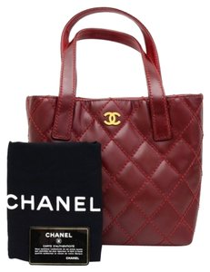 Chanel Burgundy Quilted Wild Stitch Tote in Red