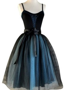 Other Classic Party Satin Skirt Black / Aqua / Blue