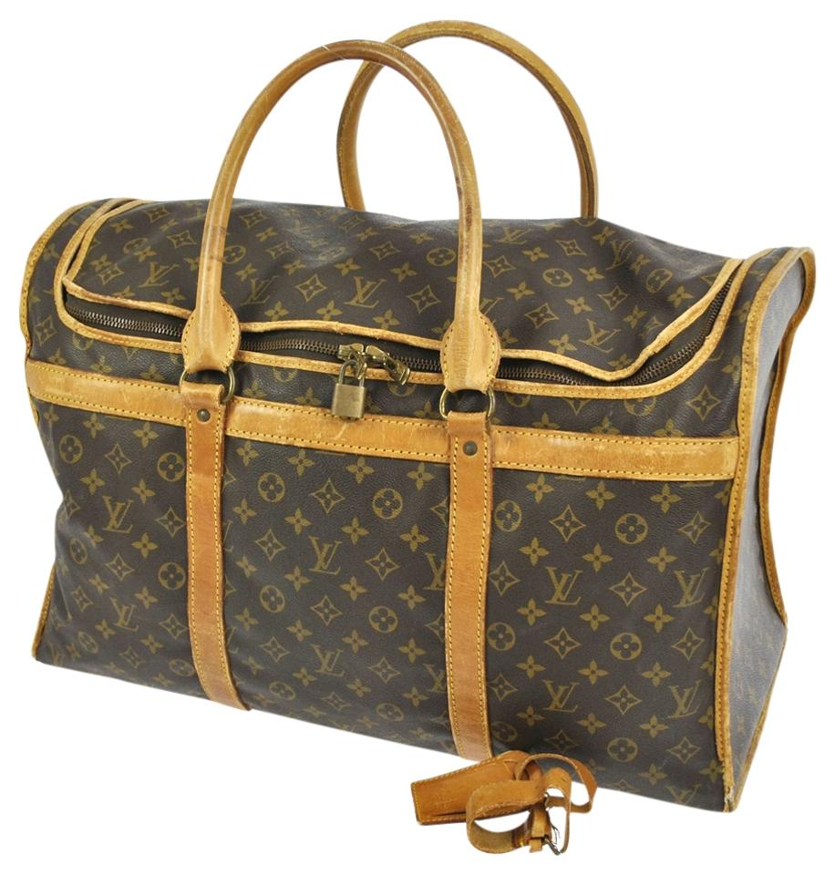 louis vuitton authentic sac chien 55 travel duffle monogram hand bag travel bag boston bag. Black Bedroom Furniture Sets. Home Design Ideas