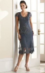 Grey Chiffon Midnight Velvet Cristelle Beaded Casual Bridesmaid/Mob Dress Size 16 (XL, Plus 0x)