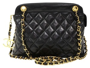 Chanel Vintage Quilted Lambskin Leather Tote Cc Charm Sku : Jit231671100f Shoulder Bag