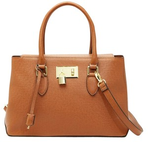 London Fog Gold Hardware Satchel in Cognac