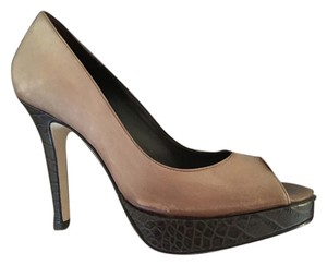 Cole Haan Platform Peep Toe Leather Nude and Dark Brown Platforms
