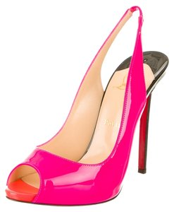 Christian Louboutin Hot Patent Leather Patent Peep Toe Stiletto Slingback Flo Red Sole 39.5 9.5 New 120 Pink Pumps