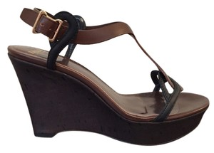 Bally Platform Leather Black and Brown Wedges