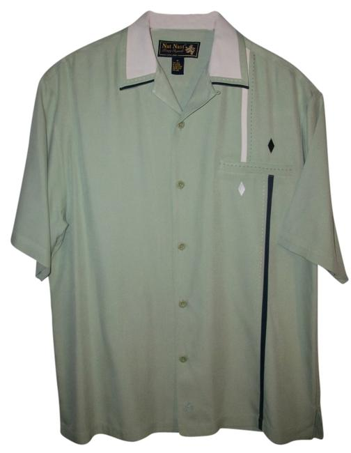 Item - Green Silk Men's Retro Fit Embroidered Bowling Shirt Blouse Size 10 (M)
