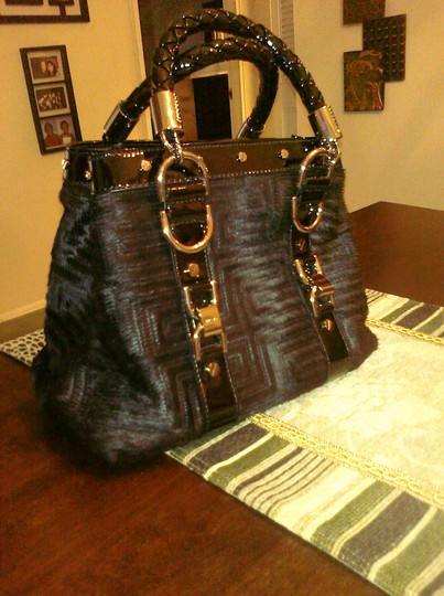 Versace Ponyhair Patent Leather Silver Hardware Hobo Bag