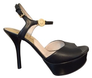 Michael Kors Leather Stiletto Platform Black Pumps