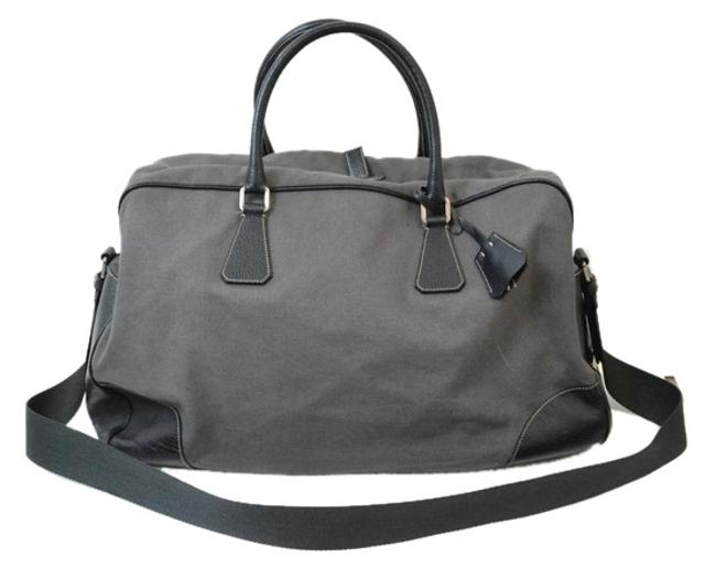 Item - Boston Duffel Gray Canvas and Leather Weekend/Travel Bag