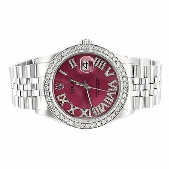 Rolex Mens Oyster Red Roman Dial Ct Diamond Datejust Rolex Easy Read Steel Watch