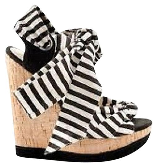 Shoemint Ankle Tie & Black & White Striped Wedges