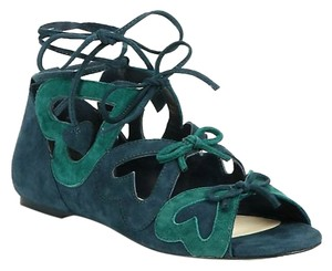 Isa Tapia Feminine Lace-up Heart Green Flats