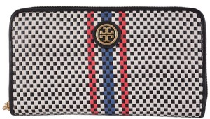 Tory Burch NEW Tory Burch $235 Woven Leather Jane Zip Around Continental Wallet Clutch
