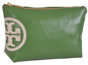 Tory Burch NEW Tory Burch Beach Dipped Green Coated Canvas T Logo Zip Top Cosmetic Bag