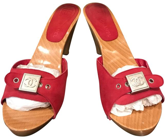 Item - Red with Silver Cc Hardware Adjustable Buckle W Suede Wooden W/ Logo 38 Mules/Slides Size US 8 Regular (M, B)