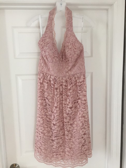 Item - Pink Lace Short Halter Casual Bridesmaid/Mob Dress Size 4 (S)