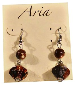 Aria Aria Brown Stone Silver Earwire Dangle Fashion Earrings, Buy 3 earrings, Get 1 equal or lesser value free!