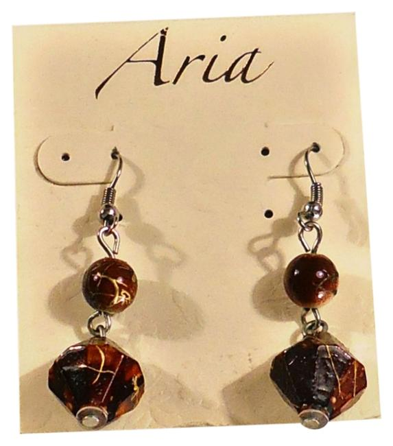 Item - Brown Stone Silver Earwire Dangle Fashion Buy 3 Get 1 Equal Or Lesser Value Free Earrings