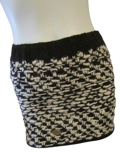 Emilime Wool Alpaca Mini Skirt Black, White