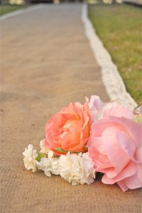 Tan Burlap Aisle Runner with Crochet Lace Ivory Or Oth