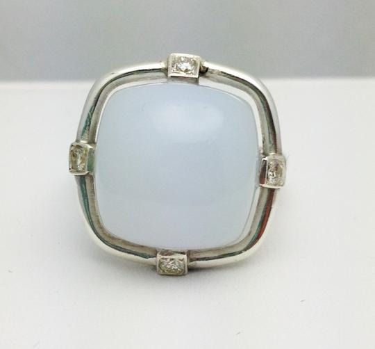 Independent Clothing Co. Diamond White Chalcedony Gemstone Cocktail Ring