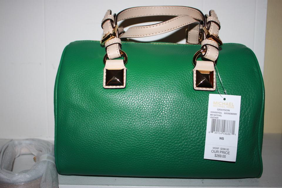 3f5f6ddd9 Michael Kors Leather Monogram Limited Edition Satchel in Green Image 5.  123456
